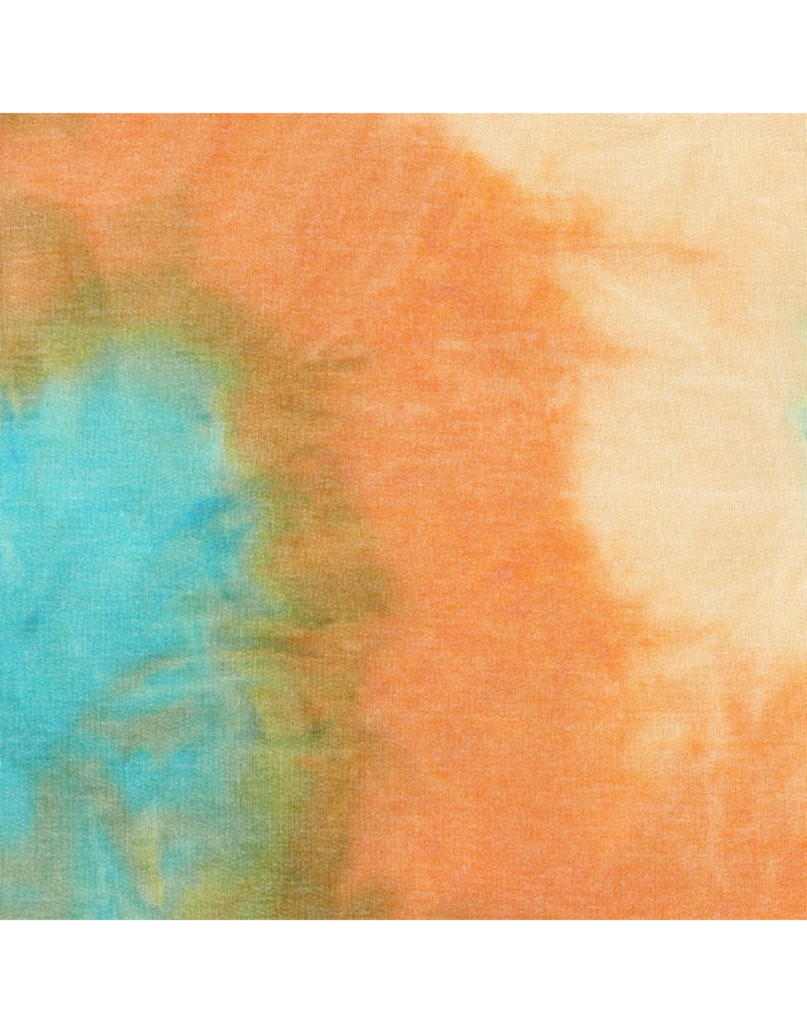 Robert Kaufman Sunset Studio French Terry Knit Tie Dye in Turquoise Beige and Rust, Fabric Half-Yards