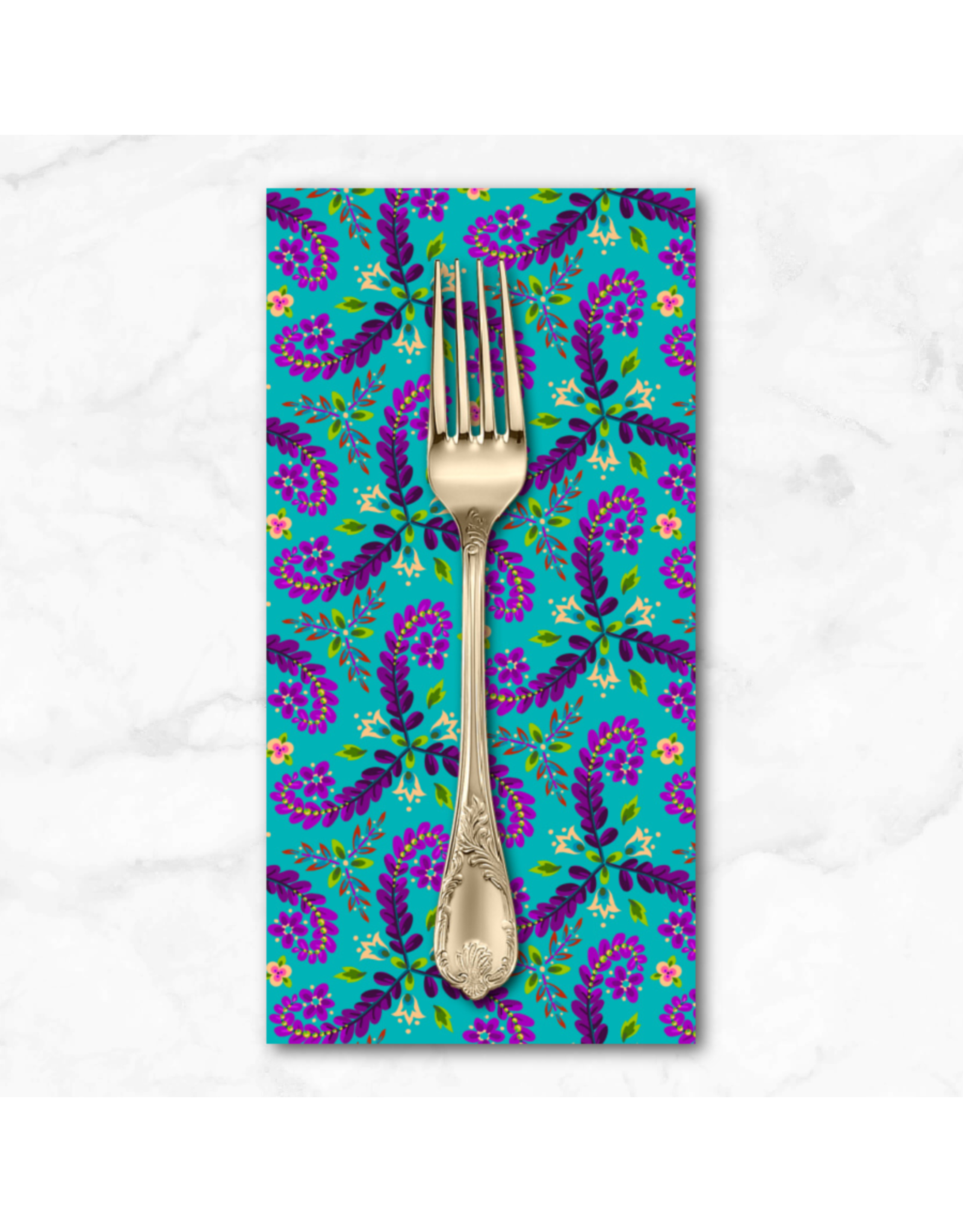 PD's Odile Bailloeul Collection MagiCountry, Fronds in Turquoise, Dinner Napkin