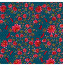 Odile Bailloeul MagiCountry, Ibis in Blue, Fabric Half-Yards