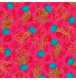 Odile Bailloeul MagiCountry, Aquatic in Pink, Fabric Half-Yards