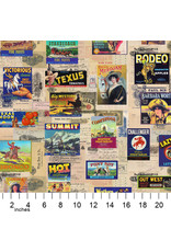Moda Lipstick Cowgirl, Vintage Crate Labels in Multi, Fabric Half-Yards