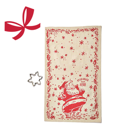 Moda Jolly Dish Towel with Cookie Cutter, Red