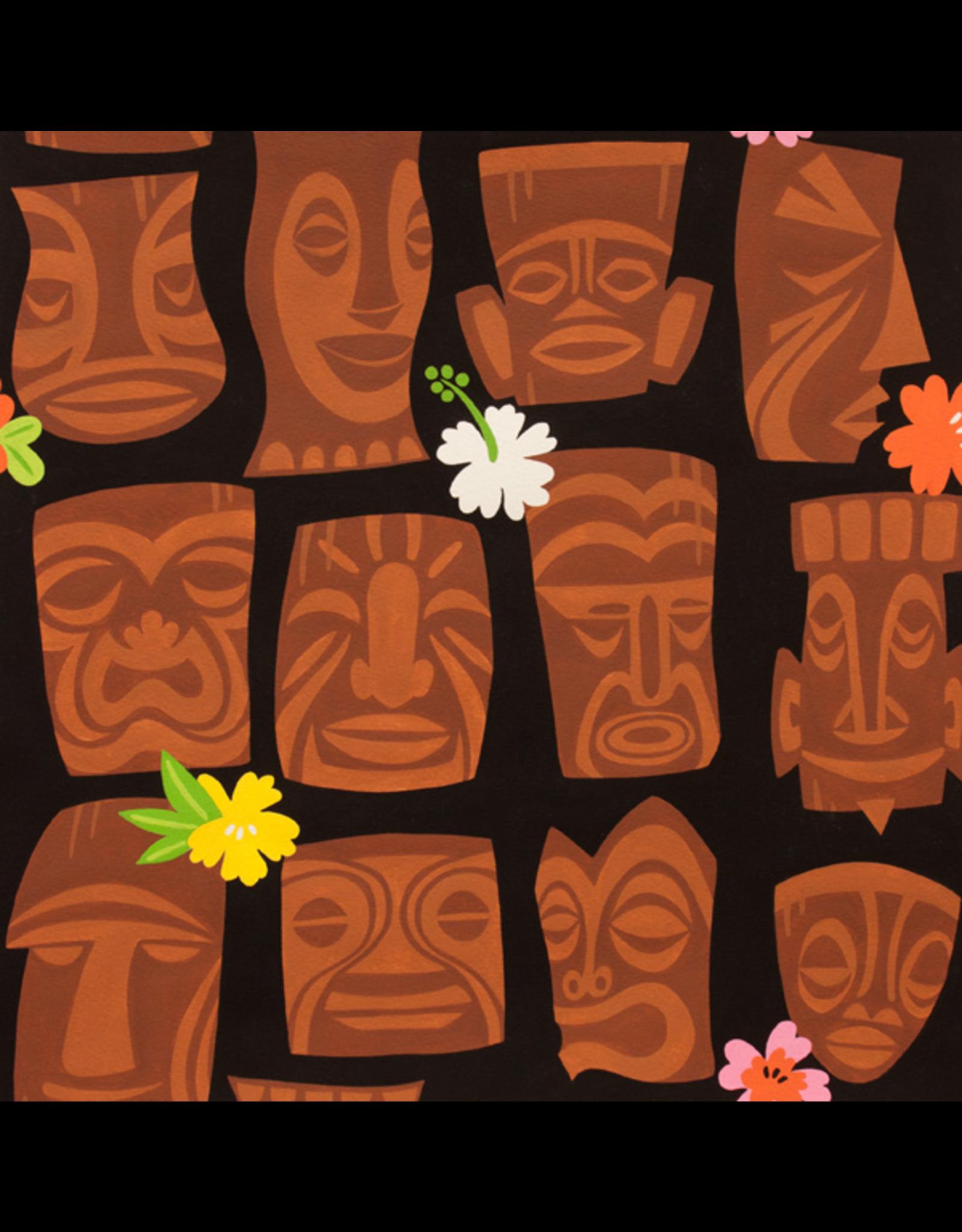 Alexander Henry Fabrics Tiki Dreams, Tahiti Tiki in Black, Fabric Half-Yards 8363AR