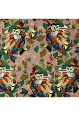 Alexander Henry Fabrics Fall Harvest,  Harvest Owl in Mushroom, Fabric Half-Yards