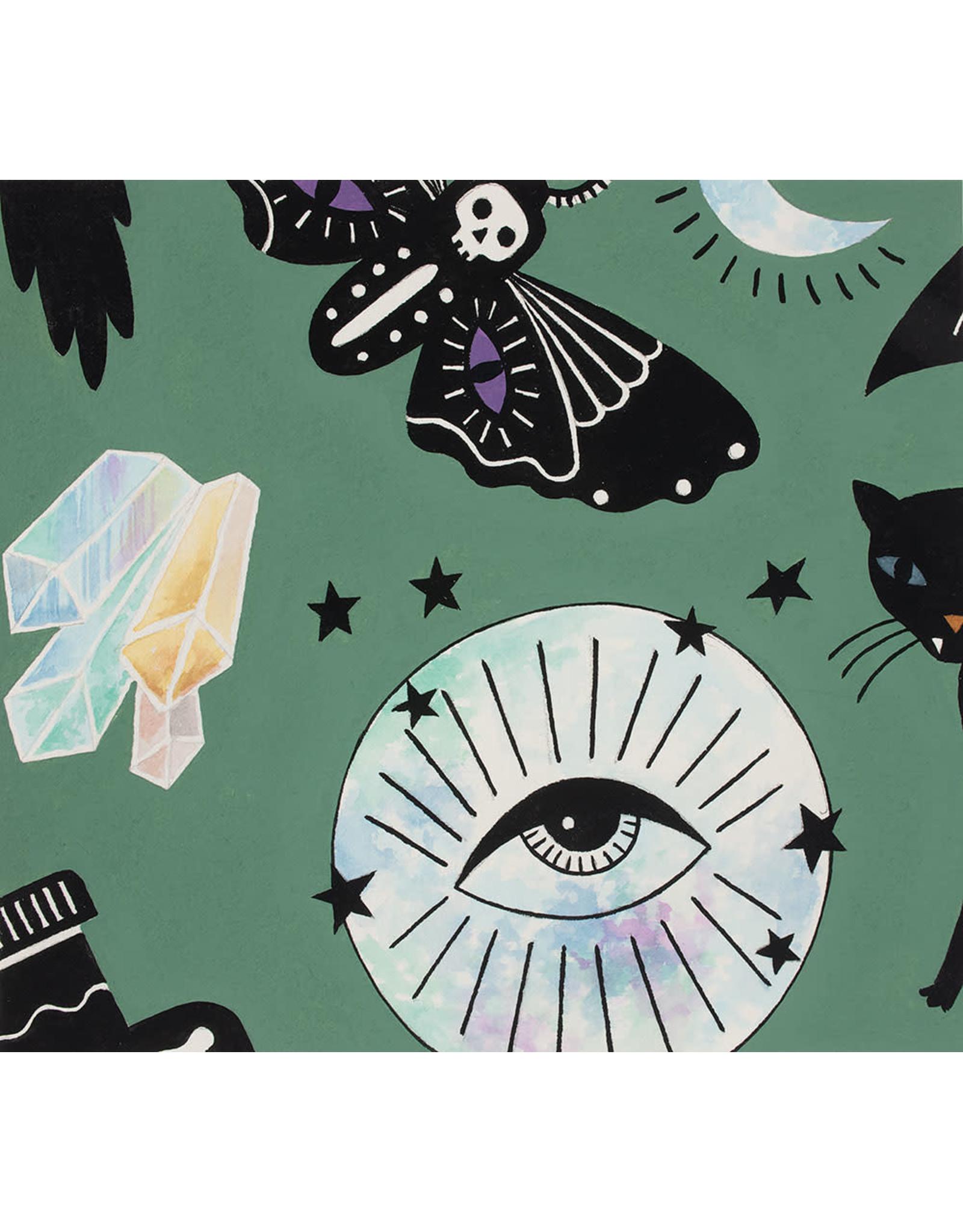 Alexander Henry Fabrics Haunted House, Eye of the Moon in Green, Fabric Half-Yards