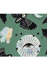 PD's Alexander Henry Collection Haunted House, Eye of the Moon in Green, Dinner Napkin