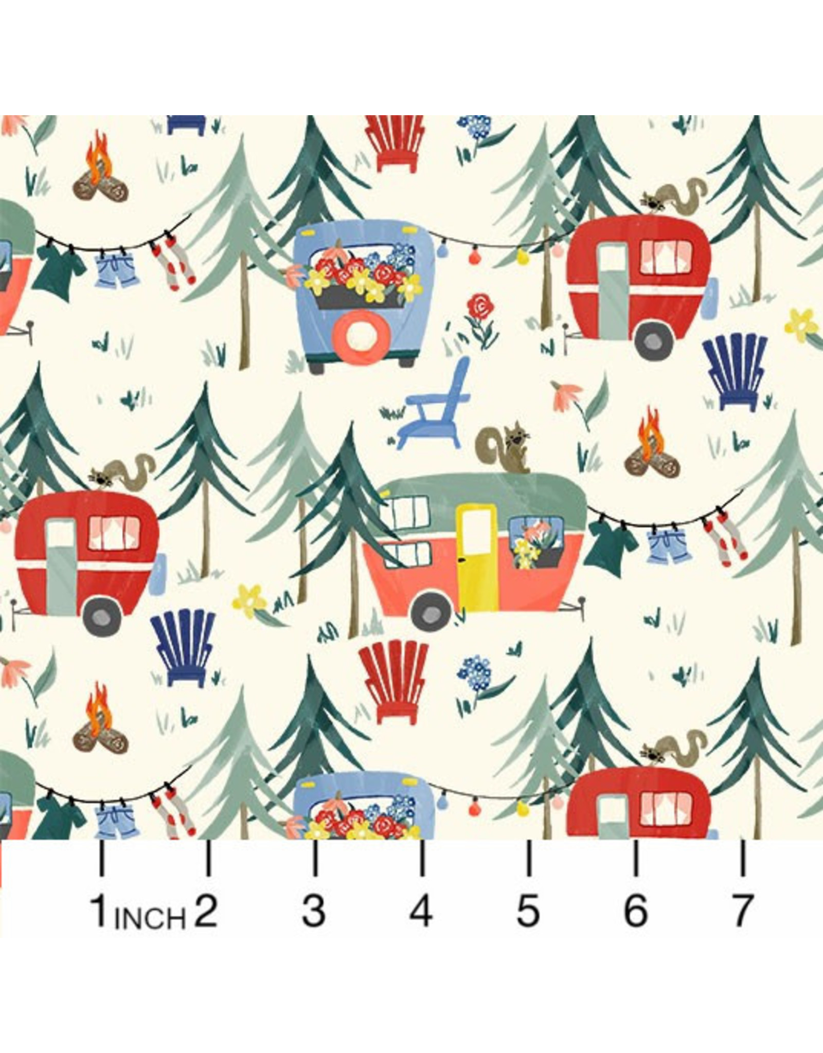 Michael Miller Camping Life,  Camp Grounds in Cream, Fabric Half-Yards