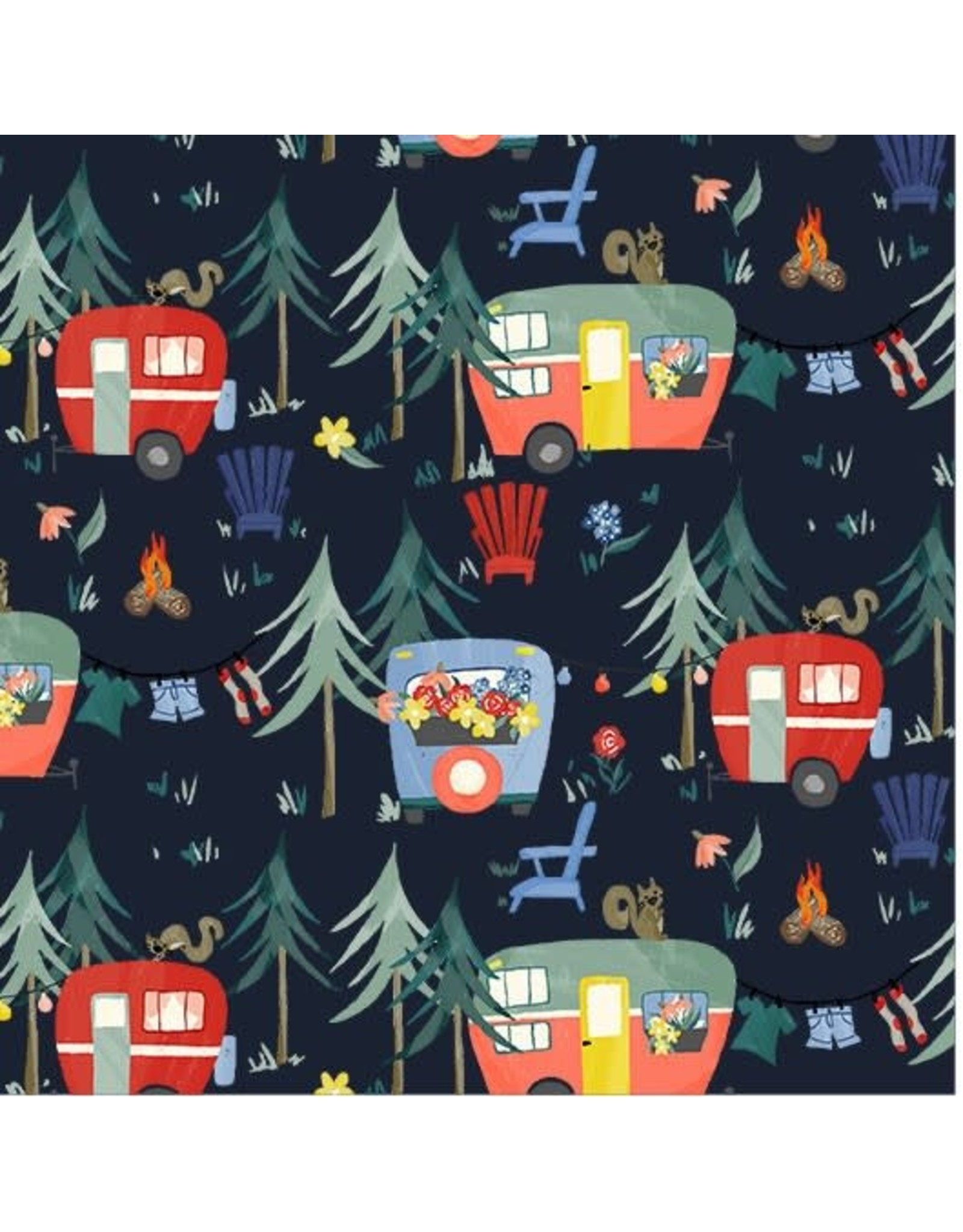 Michael Miller Camping Life,  Camp Grounds in Navy, Fabric Half-Yards