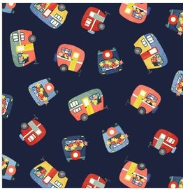 Michael Miller Camping Life,  Campers in Navy, Fabric Half-Yards