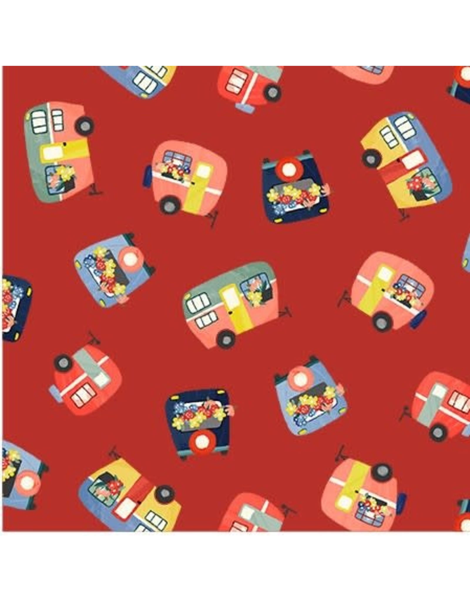 Michael Miller Camping Life,  Campers in Red, Fabric Half-Yards