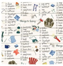 Michael Miller Camping Life,  Things to Bring in Cream, Fabric Half-Yards