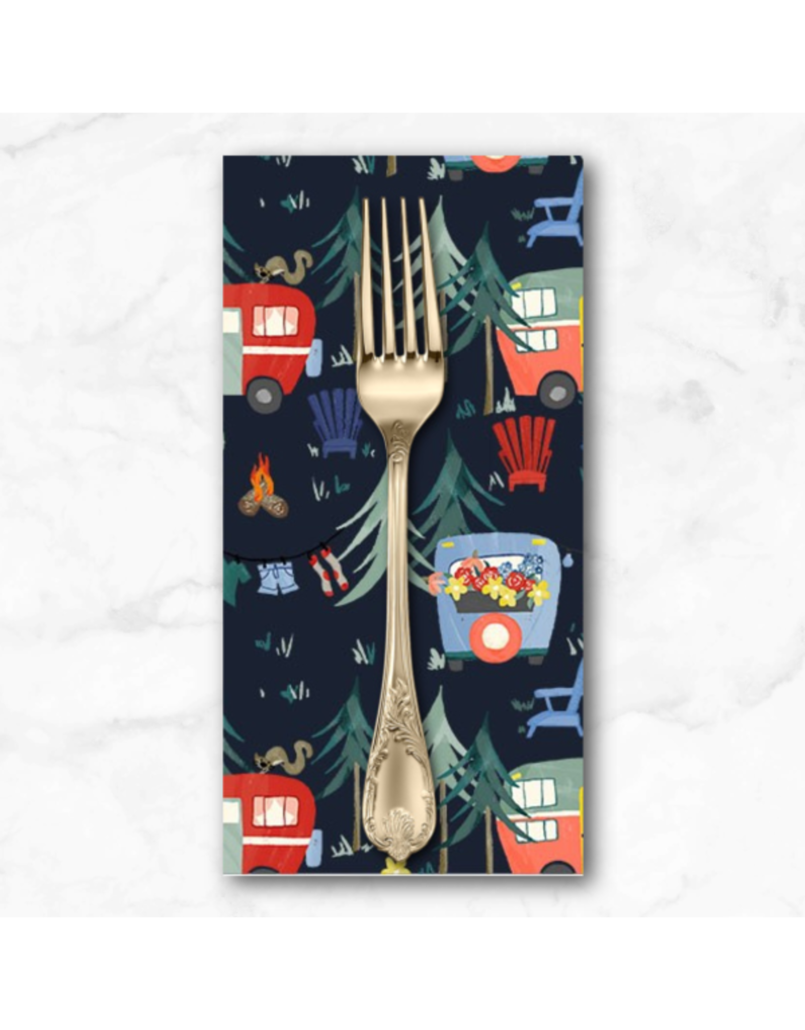 PD's Michael Miller Collection Camping Life, Camp Grounds in Navy, Dinner Napkin