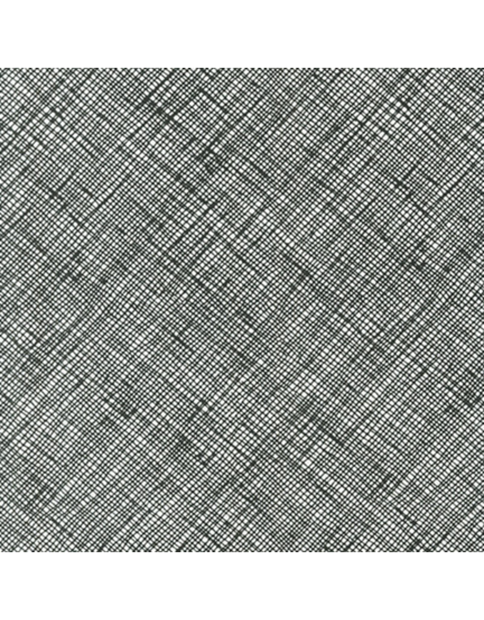 Carolyn Friedlander Architextures, Crosshatch in Black, Fabric Half-Yards