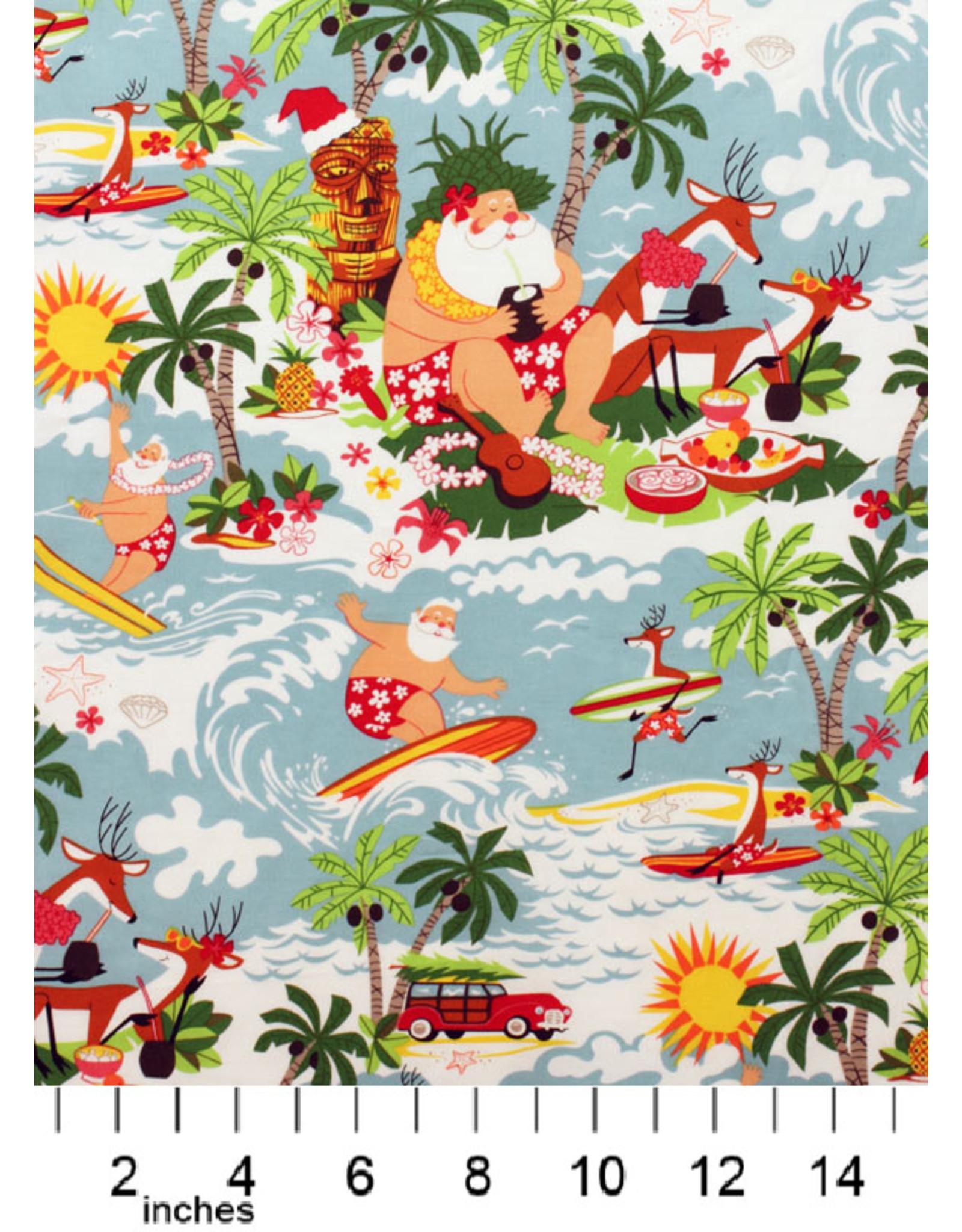 Alexander Henry Fabrics Christmas Time, Surfin' Santa in Bright, Fabric Half-Yards