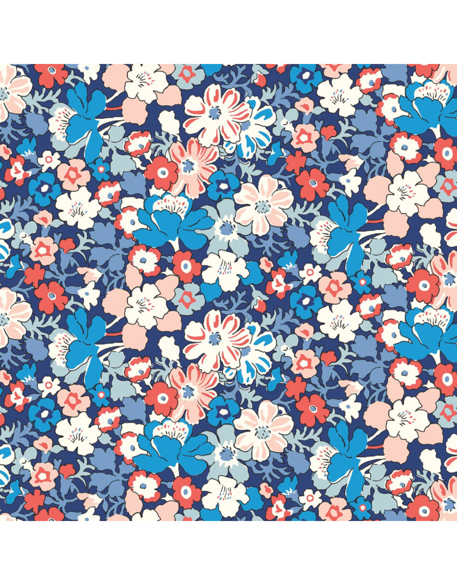 PD's Liberty of London Collection Liberty The Carnaby Collection, Westbourne Posy in Retro Indigo, Dinner Napkin