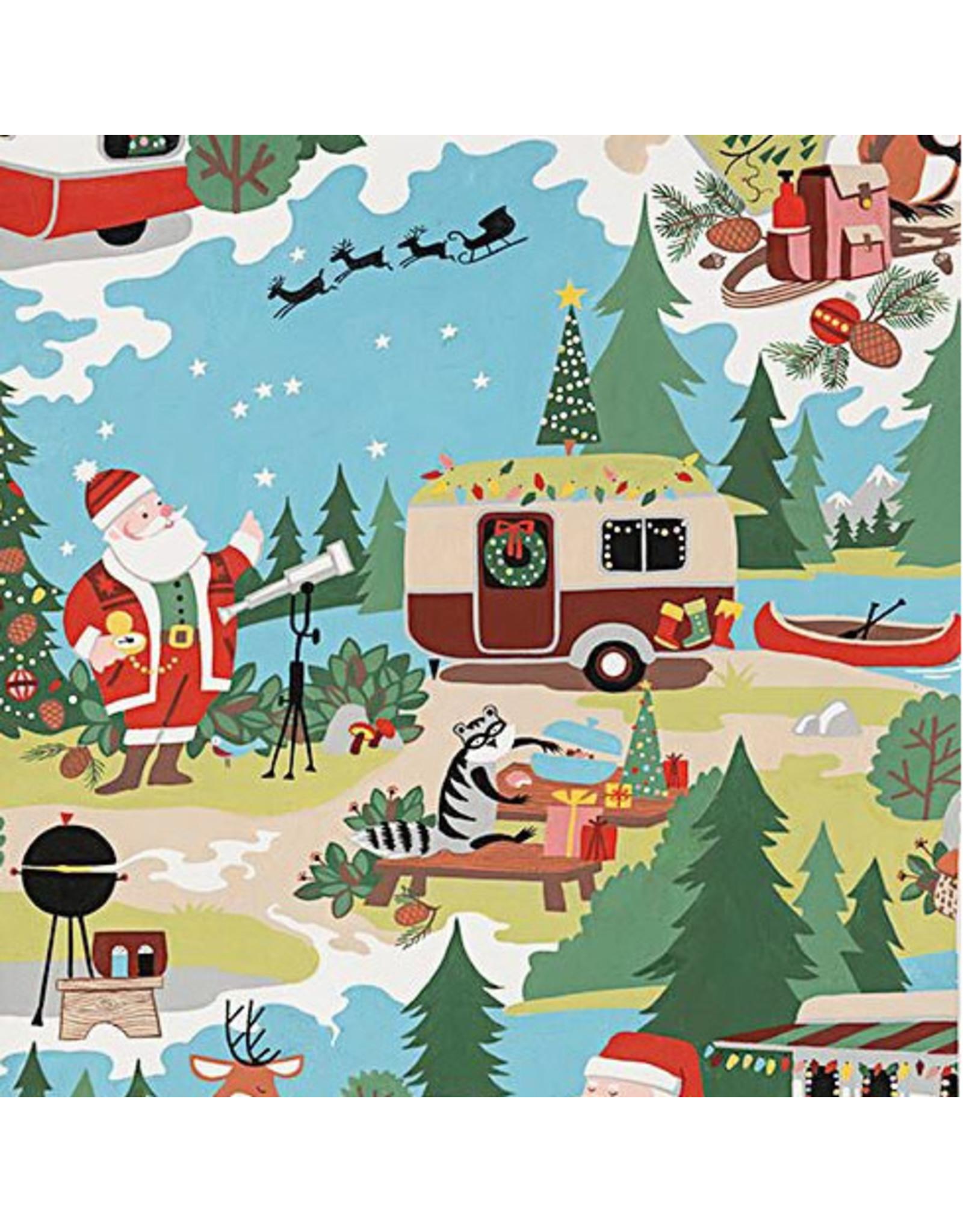 Alexander Henry Fabrics Christmas Time, Santa Goes Glamping in Multi , Fabric Half-Yards