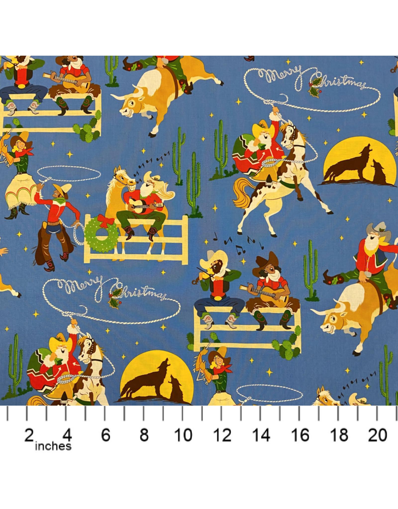 Alexander Henry Fabrics Christmas Time, Giddy-Up Santa in Blue , Fabric Half-Yards