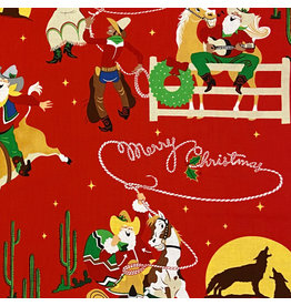 Alexander Henry Fabrics Christmas Time, Giddy-Up Santa in Red , Fabric Half-Yards