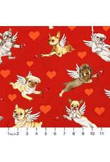 Alexander Henry Fabrics Nicole's Prints, Puppy Love in Red, Fabric Half-Yards