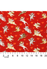 PD's Alexander Henry Collection Nicole's Prints, Puppy Love in Red, Dinner Napkin