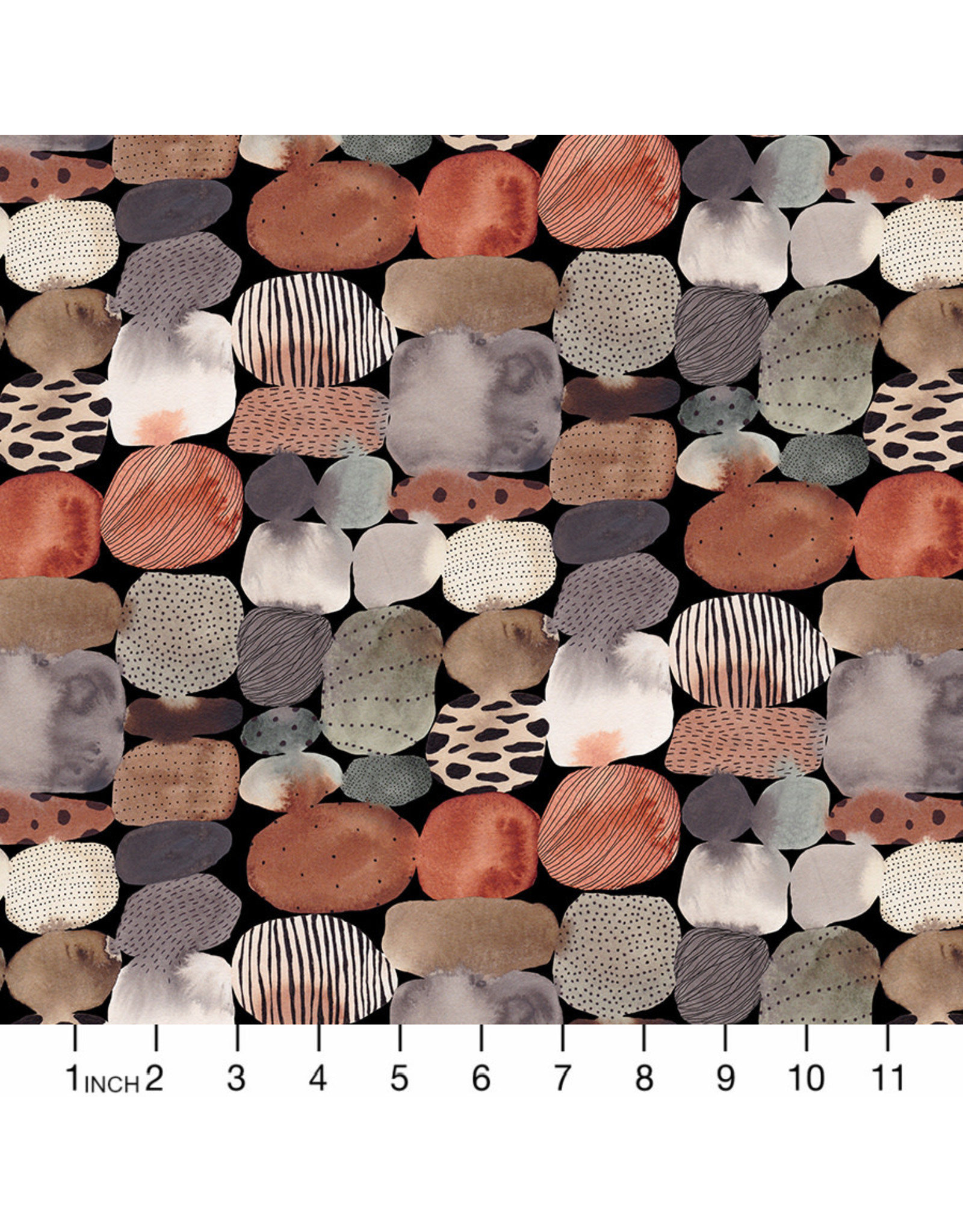 Figo Wild West, Rocks in Black, Fabric Half-Yards