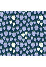 Cotton + Steel Under the Apple Tree, Queen of Berries in California Blue, Fabric Half-Yards