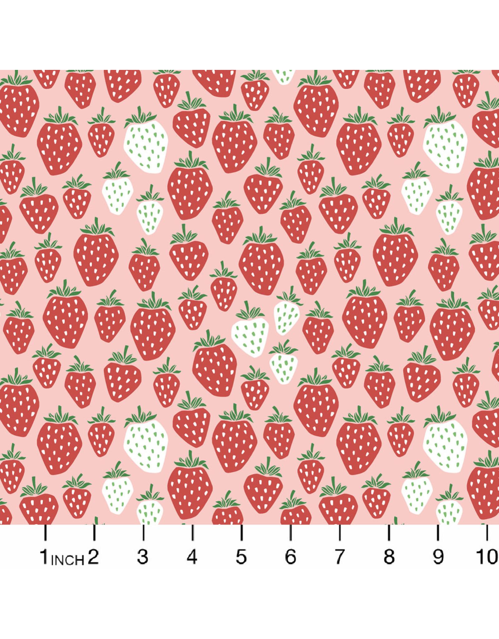 Cotton + Steel Under the Apple Tree, Queen of Berries in Summer Red, Fabric Half-Yards