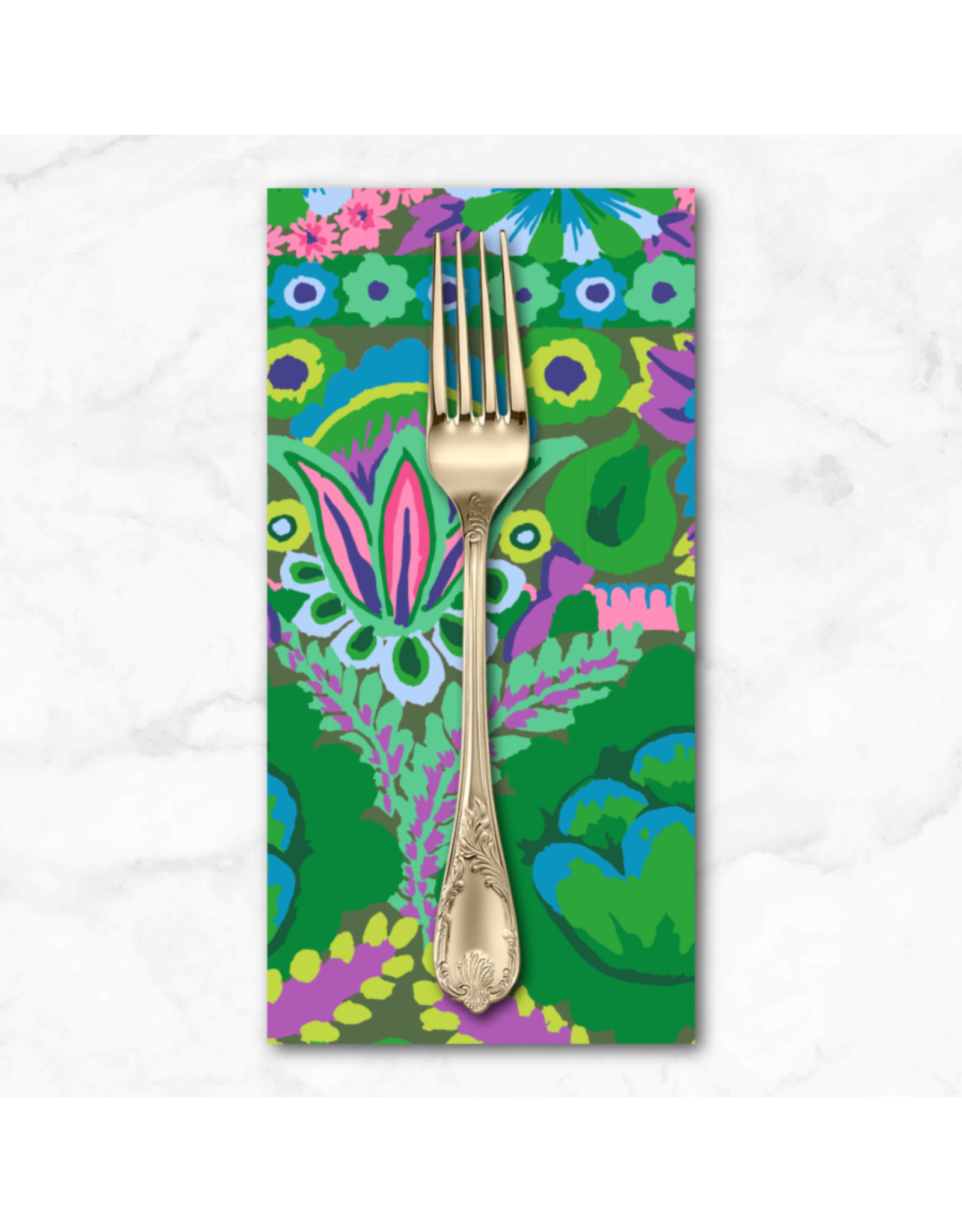 PD's Kaffe Fassett Collection Kaffe Collective 2021, Embroidered Flower in Green, Dinner Napkin