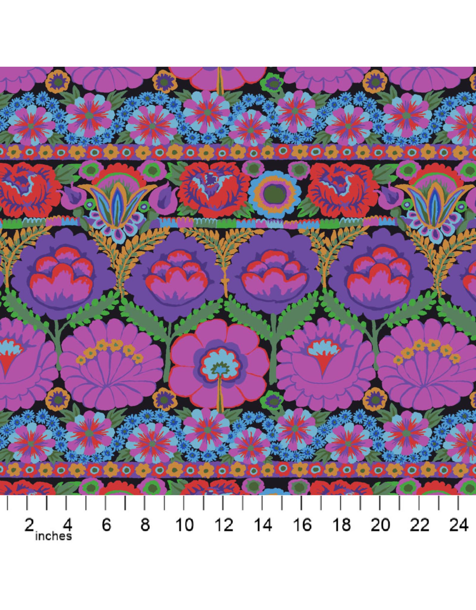 Kaffe Fassett Kaffe Collective 2021, Embroidered Flower in Purple, Fabric Half-Yards
