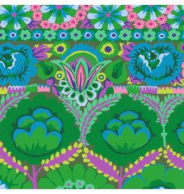 Kaffe Fassett Kaffe Collective 2021, Embroidered Flower in Green, Fabric Half-Yards