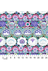 Kaffe Fassett Kaffe Collective 2021, Embroidered Flower in Contrast, Fabric Half-Yards