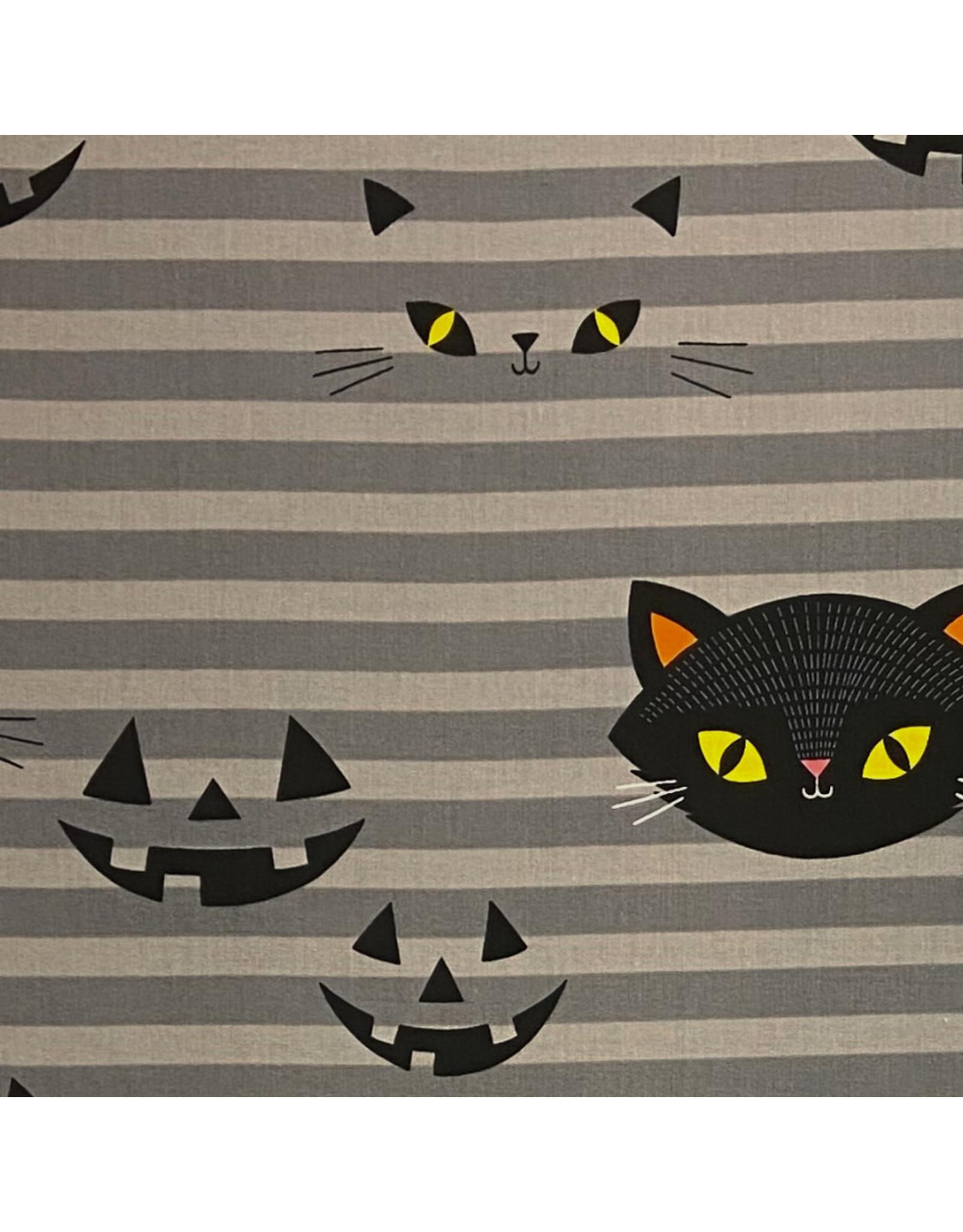 Alexander Henry Fabrics Haunted House, Hide-N-Go Kitty in Smoke, Fabric Half-Yards