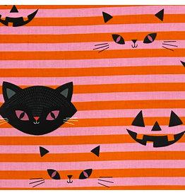Alexander Henry Fabrics Haunted House, Hide-N-Go Kitty in Pink Orange, Fabric Half-Yards