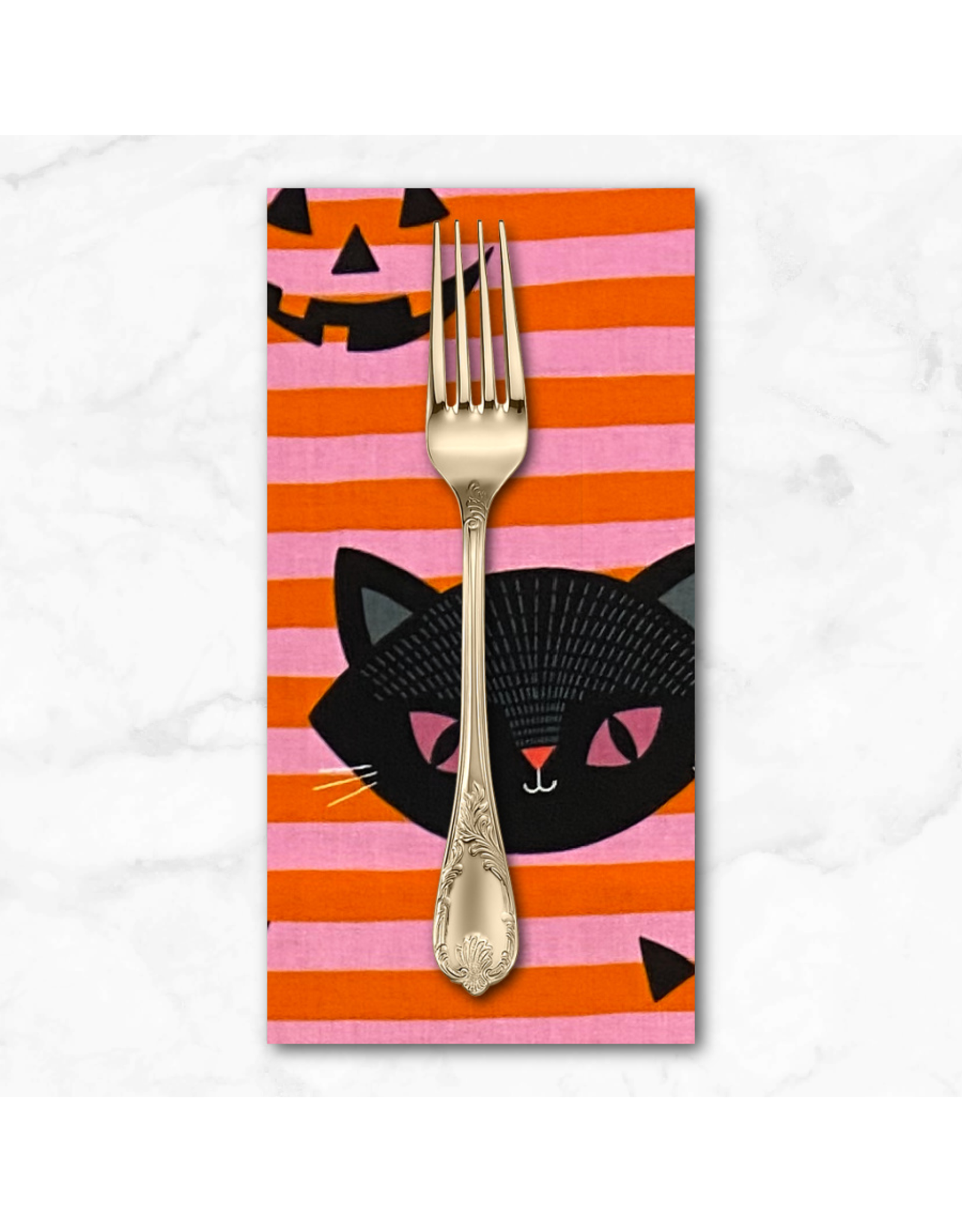 PD's Alexander Henry Collection Haunted House, Hide-N-Go Kitty in Pink Orange, Dinner Napkin