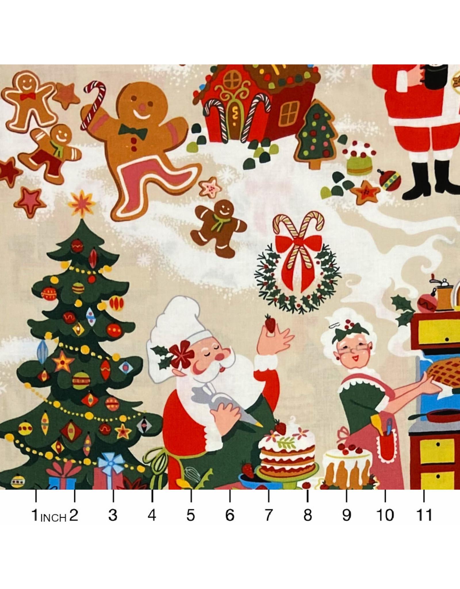 Alexander Henry Fabrics Christmas Time, Sugar Plum Santa in Cinnamon, Fabric Half-Yards