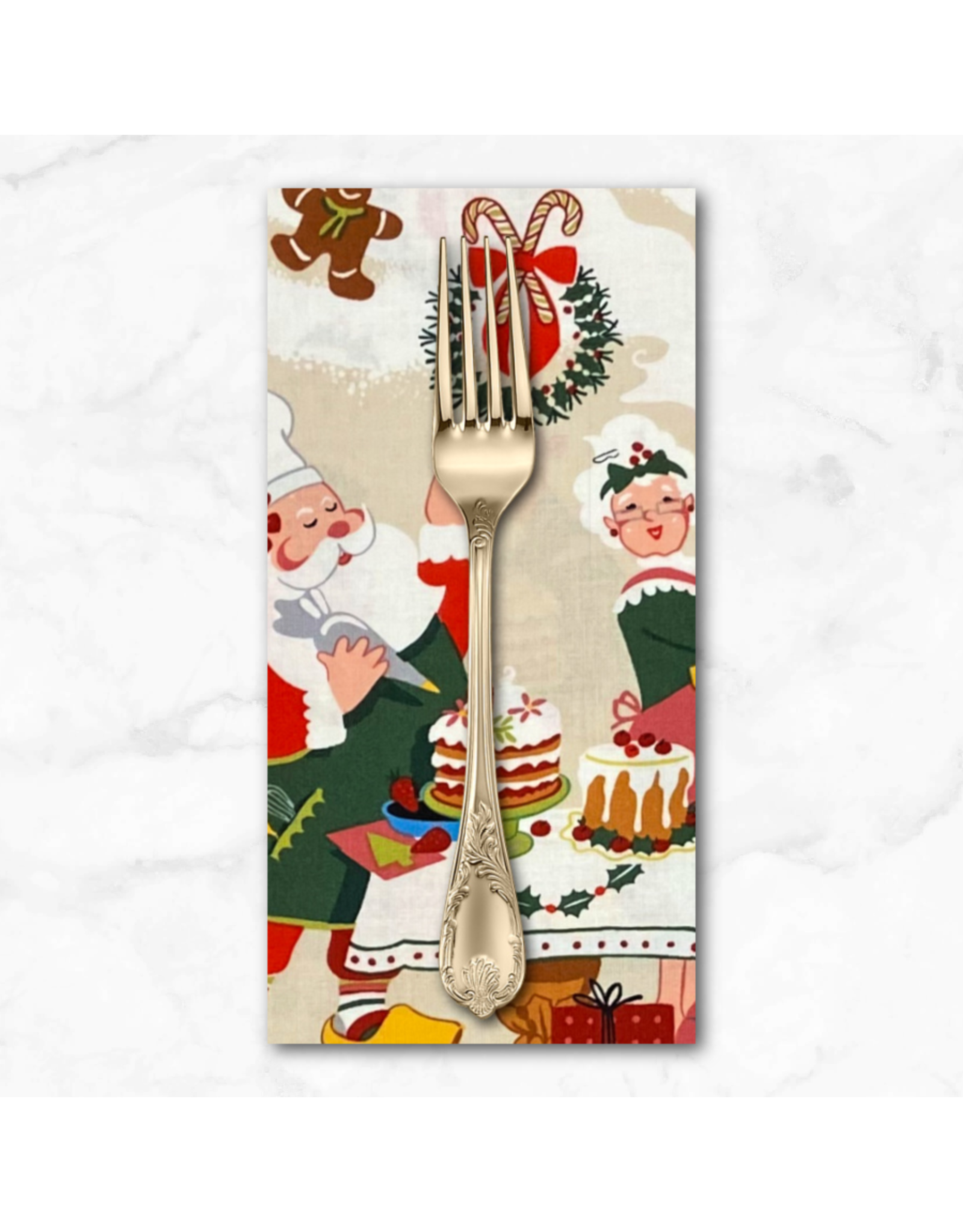 Christmas Collection Christmas Time, Sugar Plum Santa in Cinnamon, Dinner Napkin