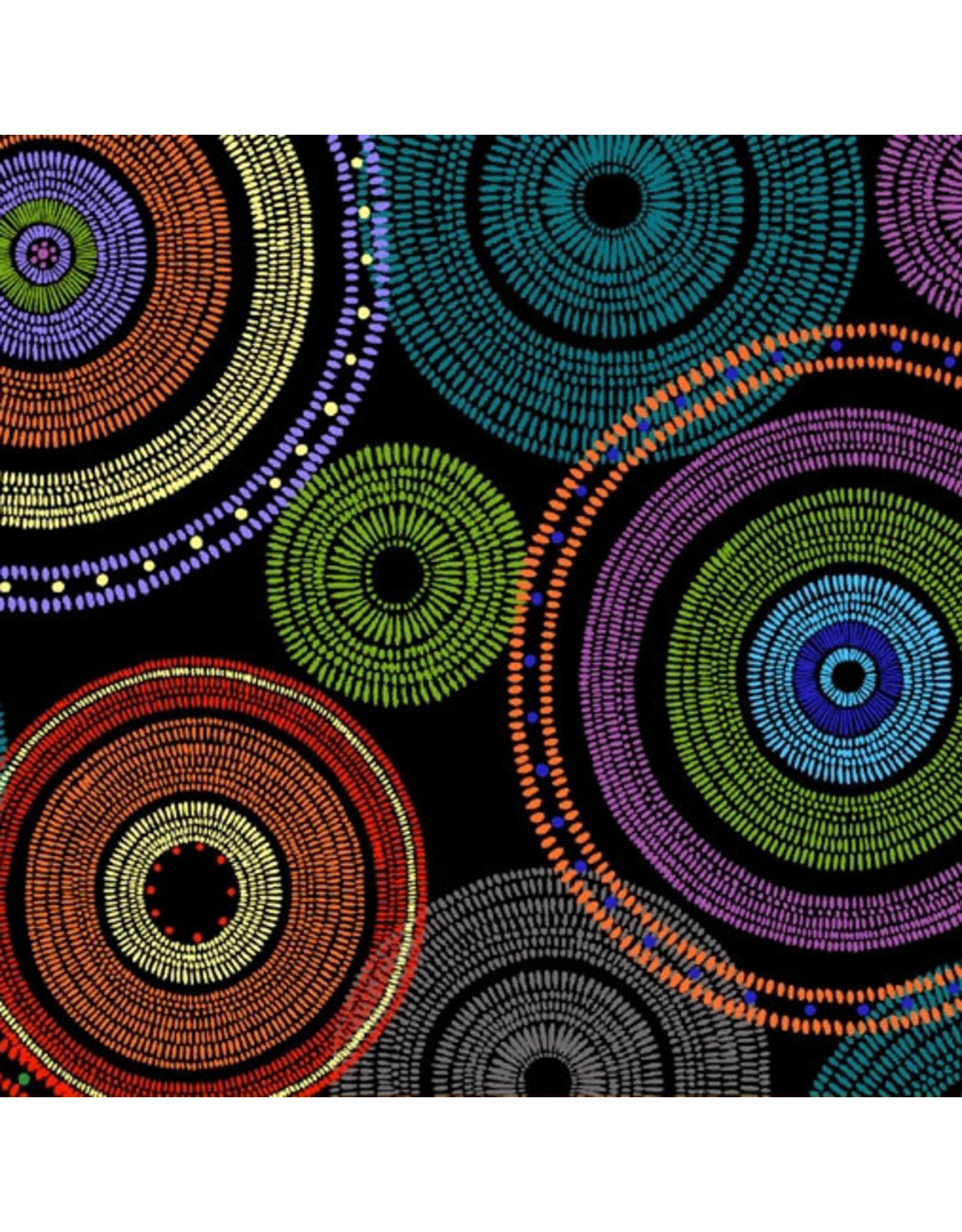 Windham Fabrics 108 Quilt Backs, Medallion in Black Multi, Fabric Half-Yards