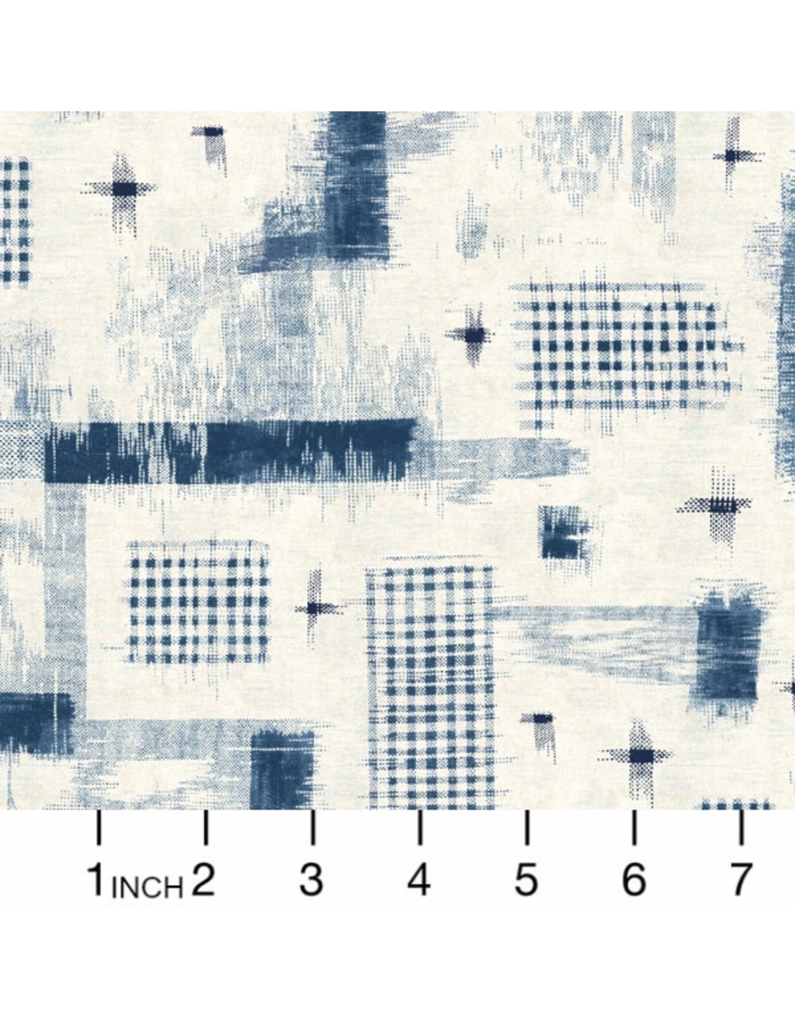 Windham Fabrics Midnight, Woven Ikat in Ivory, Fabric Half-Yards