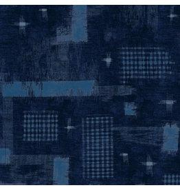 Windham Fabrics Midnight, Woven Ikat in Overdyed, Fabric Half-Yards