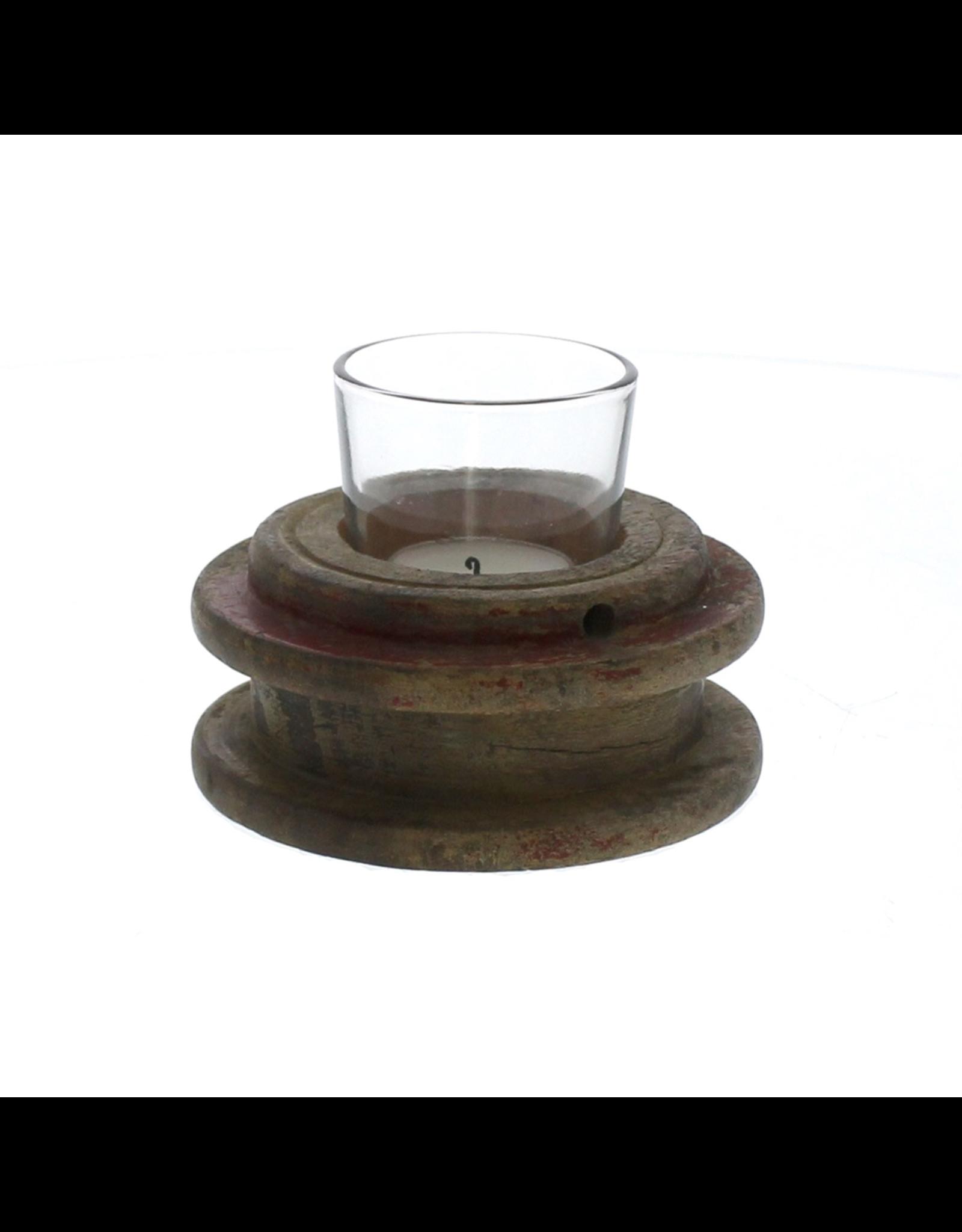 Salvaged Spool Tea Light Holder