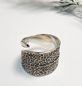 Handmade Cast Sage Leaf Ring - Oxidized Sterling