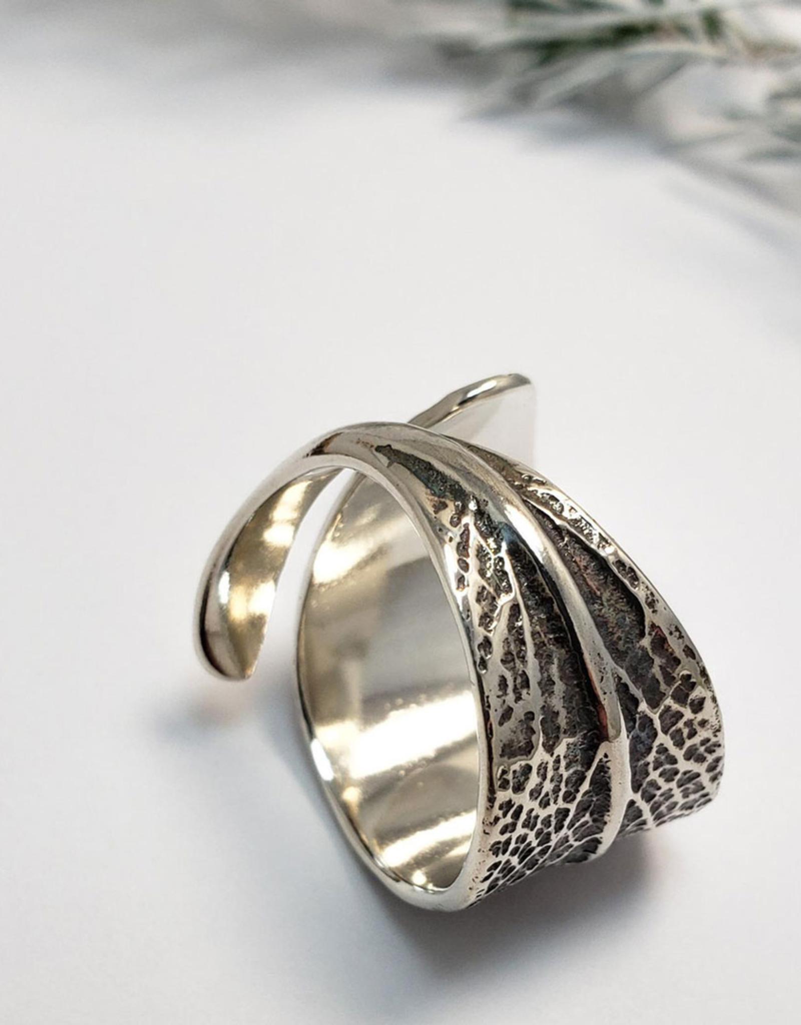 Handmade Cast Sage Leaf Ring - Oxidized Sterling