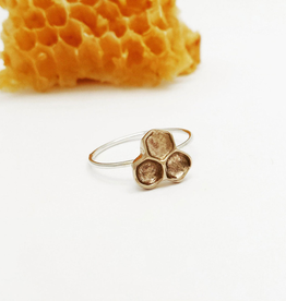 Handmade Cast Honeycomb Ring - Bronze