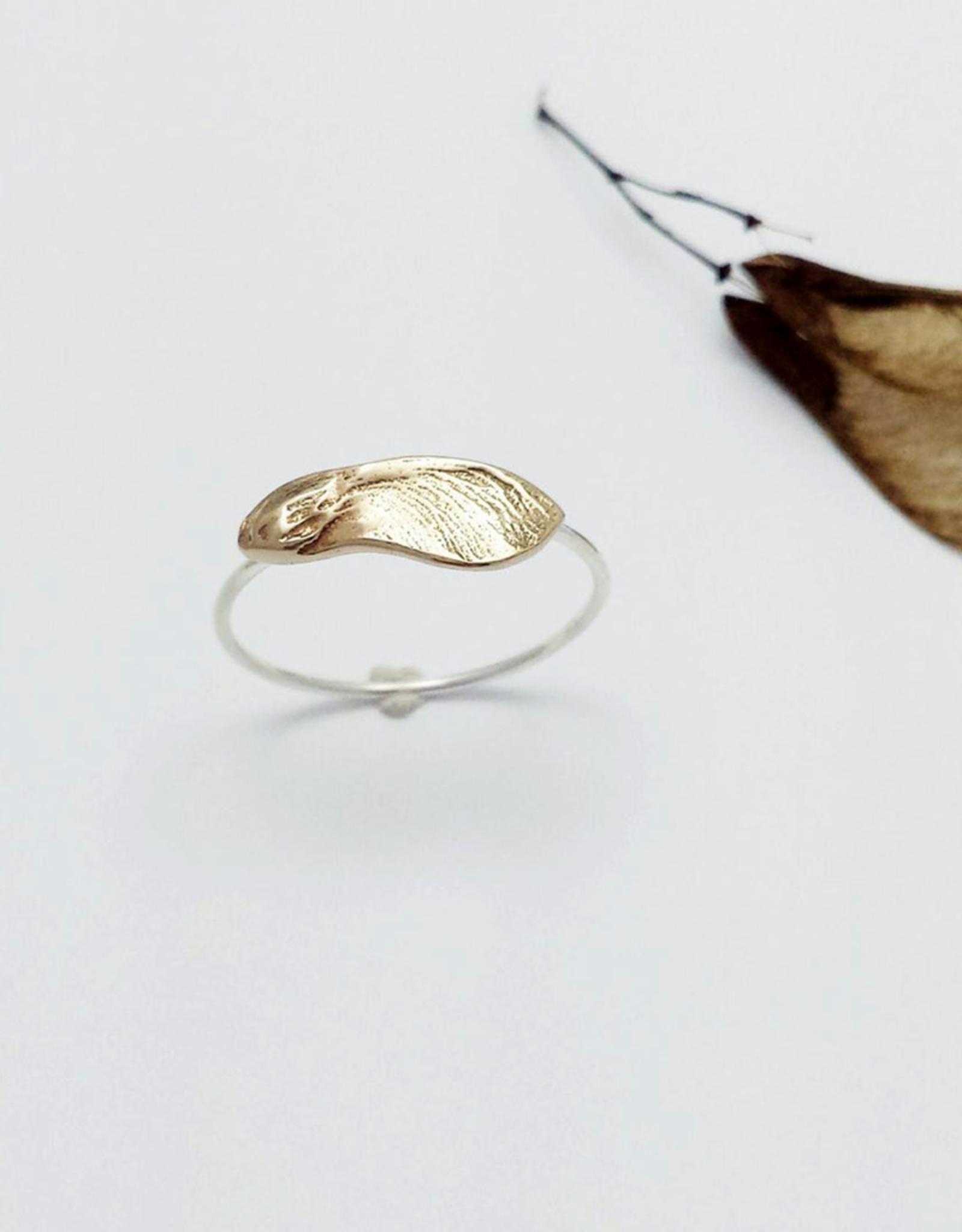 Handmade Cast Maple Key Ring - Bronze