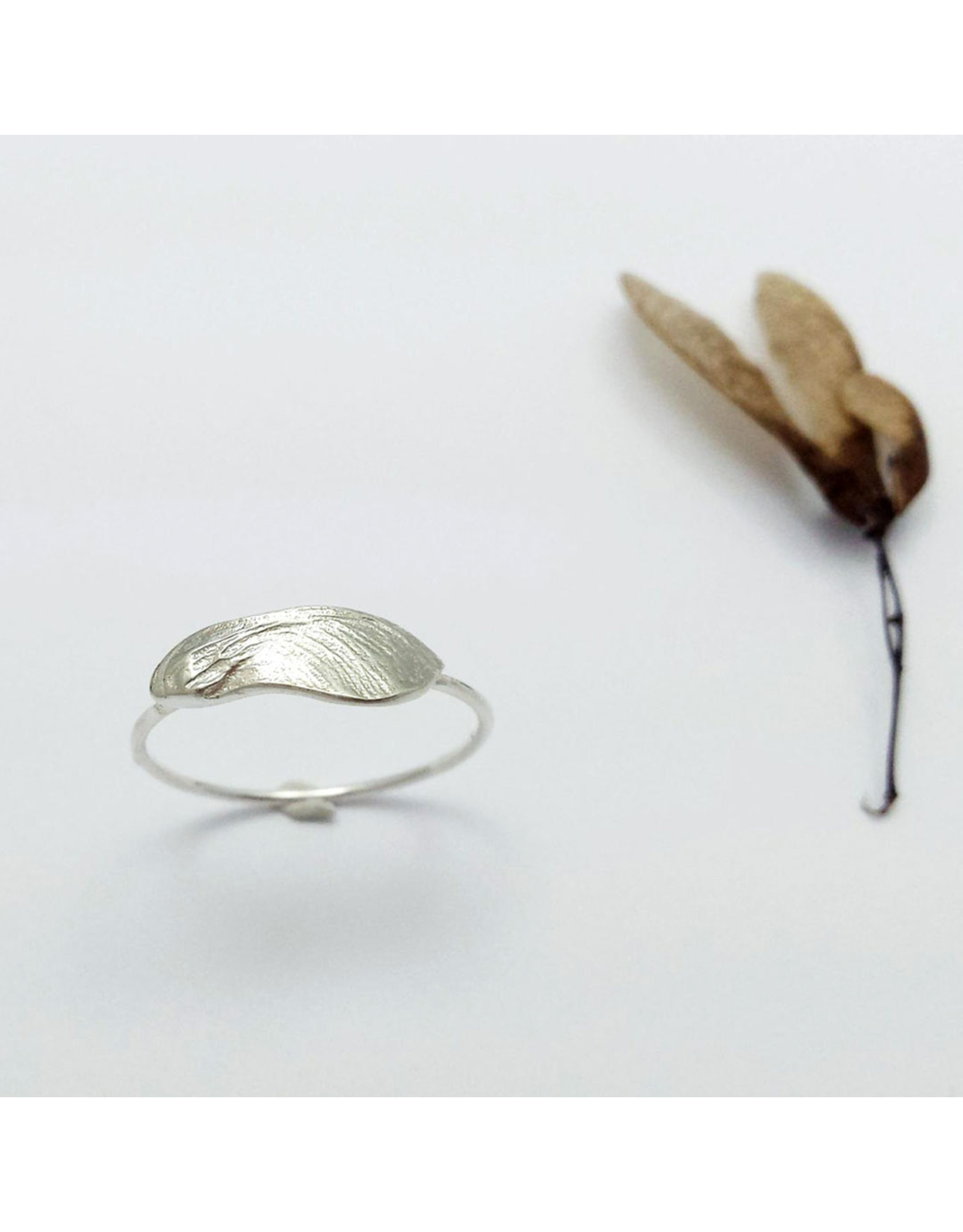 Cast Maple Key Ring - Sterling Silver
