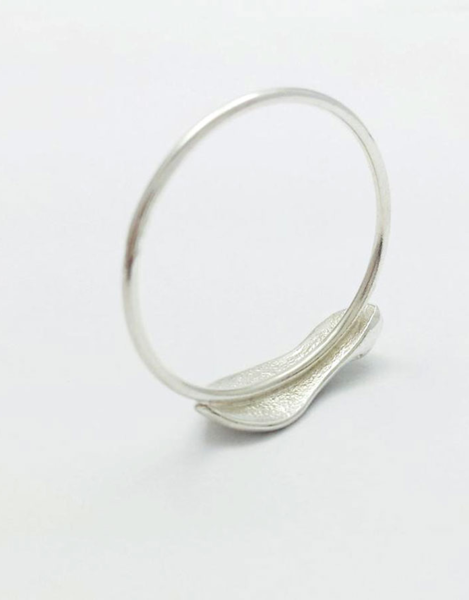 Handmade Cast Maple Key Ring - Sterling Silver