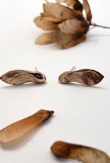 Handmade Cast Maple Key Stud Earrings - Bronze