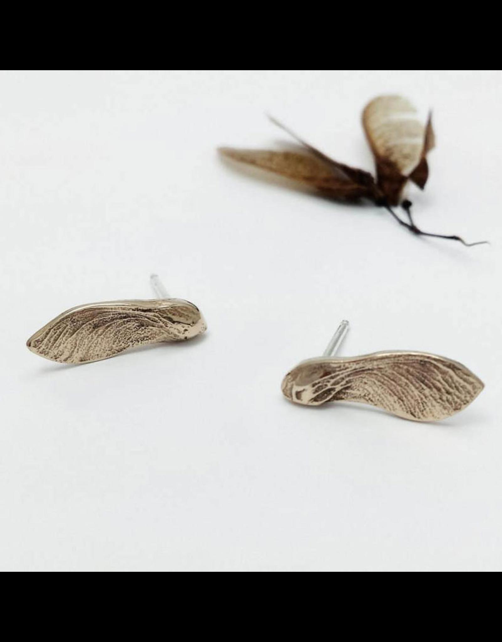 Cast Maple Key Stud Earrings - Bronze