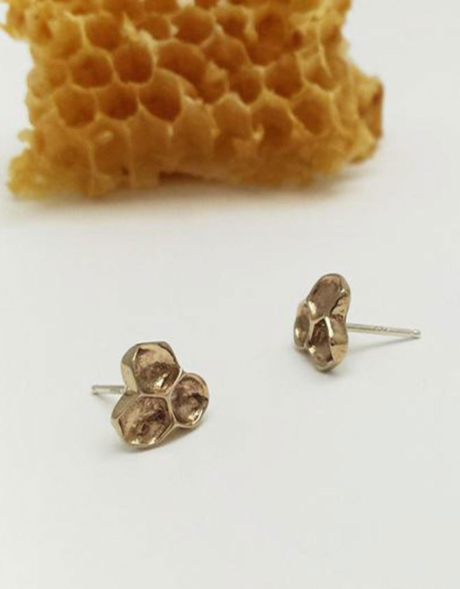 Handmade Honeycomb Stud Earrings - Bronze