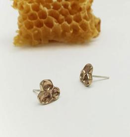 Handmade Honeycomb Stud Earrings - Bonze